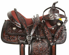 16 17 18 BLACK BARREL RACING PLEASURE SHOW WESTERN LEATHER HORSE SADDLE TACK