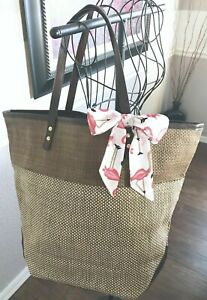 New XLarge Brown Woven Tote Bag w/ Faux Leather Accents & Pink Flamingo Scarf!