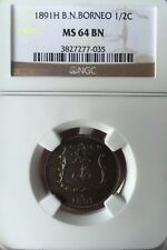 1891H British North Borneo 1/2 cent  coin scare high graded NGC Ms 64 Bn.
