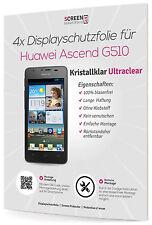 4x Displayschutzfolie für Huawei Ascend G510 Clear Schutzfolie 3-lagig Klar