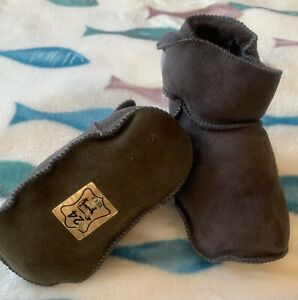 Baby Shearling Booties, Genuine Suede leather, Indoor Shoes, Warm Fur Moccasins