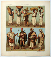 VINTAGE 1800's Color Costume Plate, Fashions of Africa, Fashion, Design, 014