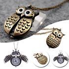 Antique Owl Brass Pocket Watch Necklace Pendant Quartz Fob Ladies Cute Retro