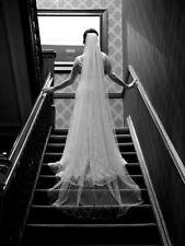 "Ivory Chapel Length 96"" Single Tier Wedding/Bridal Veil, Satin Trim and Crystals"
