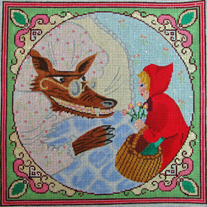 HP Needlepoint 13ct SILVER NEEDLE Fairy Tale Little Red Riding Hood & Wolf-ZV32