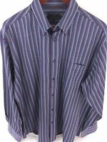 Bugatchi Uomo Mens Large Purple Striped Long Sleeve Button Front B-75