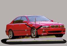 MODEL CARS, BMW 5 E39 -03, car passenger,11,8x 7,8 inches,aluminium  with Clock