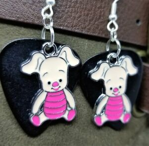 Piglet Charm Guitar Pick Earrings - Pick Your Color