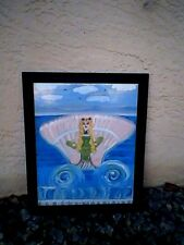THE FLORIDA MERMAID! Whimsical Mermaid painting FRAMED by Linda Stamberger!