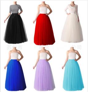 Babyonlinedress 5Layers Women's Long Tutu Tulle Skirt A Line Floor Length Skirts