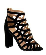 Caged CutOut Ankle High Back Zip Block Chunky High Heel Peep Open Toe Sandals