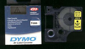 1x DYMO D1 label cassette 9mm Farbband 40918 BLACK / YELLOW s0720730 für LABEL