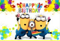 MINIONS DESPICABLE ME   Birthday Party Banner Backdrop , cumpleaños 🎈🧁🍰
