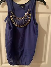 Bebe Silk Top W Removable Necklace Sz M ( Periwinkle Shade)