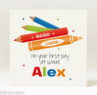 Handmade Personalised Good Luck On Your First Day at School  Card - Boy