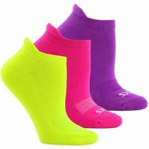 NEW 3pr Asics cushion low cut running socks women M medium hot pink/neon/purple