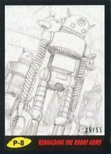Mars Attacks The Revenge Black [55] Pencil Art Base Card P-8 Rebuilding the Rob