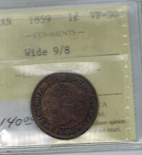Canada 1859 Large  Cent Wide 9/8 Variety Queen Victoria  ICCS VF 30