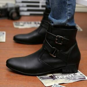 Mens Cuban British Heel Ankle Boots Pointed Toe Buckle Strap Zip Cowboy Shoes