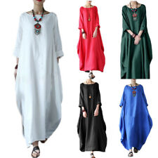 Women Casual 3/4 Sleeve Plain Baggy Cotton Linen Long Maxi Dress Kaftan Abaya