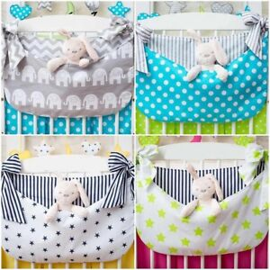 new COT BED TIDY ORGANISER BAG HANGING STORAGE for toys wipes + DECORATIVE BOWS