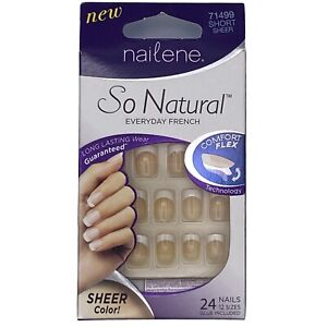 Nailene so natural French artificial nails short comfort flex