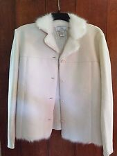 LISA INTERNATIONAL - Chenille, Faux Fur & Suede L/S Jacket XL - Whip Cream Color