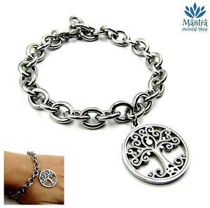 Bracciale donna in acciaio inox da braccialetto argento con albero della vita