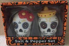 Day Of The Dead Skull Ceramic Salt And Pepper Shaker Set Halloween