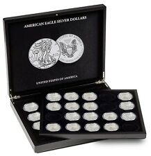 Silver Eagle Coin Collection Case Box  + 1 Tray + 40 Capsules Display Gift USA