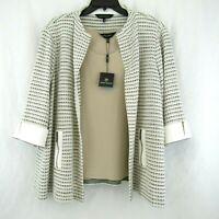 Ming Wang Ivory Tan Black Stripe Open Front Jacket Tank Set Size 2X New