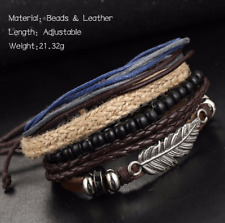 Men's Jewelry Multi-layer Alloy Feather Wood Beads Braided Rope Bracelets Unisex