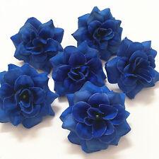 6pcs D-Blue Artificial Fake Silk Leaf Bridal Wedding Party Decor Rose Flower