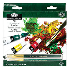 18 pc Oil Paint Tubes and 2 Painting Brushes ROYAL LANGNICKEL