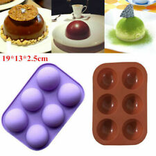 6 Cavity Half Ball Sphere Cake Silicone Mold Muffin Chocolate Baking Pan Moulds