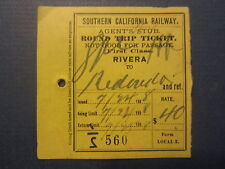 1898 Southern California RAILWAY Train TICKET - RIVERA - REDONDO - Round Trip