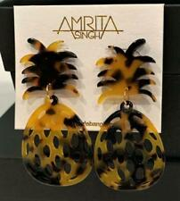 AMRITA Singh Pineapple Drop EarringsTortoise Color Resin NEW
