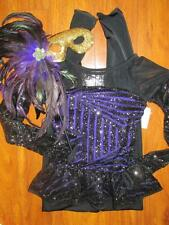 Purple Peplum Sequin Unitard Mask Feather Curtain Call Costume ASM