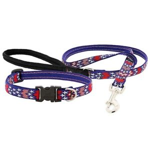 "NEW Red White and Blue America Dog Collar or Leash 1"", 3/4"" or 1/2"" by LupinePet"