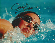USA Olympic swimmer Gold medalist Janet Evans  autographed close up color  photo