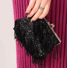 Art deco gatsby flapper black tassel sequin beaded evening bag