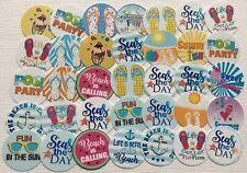 "PRECUT 1"" 35 Summer Fun Bottle Cap Images Cupcake Toppers Free Shipping"