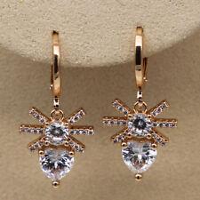 18K Gold Filled - White Topaz Flower Cross Heart Gemstone Party Lady Earrings