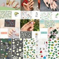 Nail Stickers Transfer Decals Cute Cactus Heart Image Nail Art Tips Decor 1Sheet
