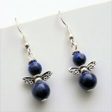 Gemstone Angel Earrings Lapis Lazuli Sterling Silver Hooks New Blue Drops L5
