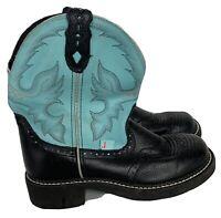 Justin Gipsy Leather Boys Girls Black Aqua Roper Cowboy Boots Youth Western 6.5