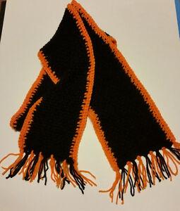 "Crochet Scarf Handmade Black/Orange Unisex Size 7"" Wide x 80"" ex-long"