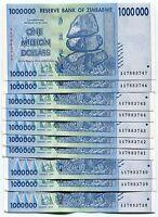 Zimbabwe 1 Million Dollars AA prefix 2008 Banknote Money UNC x 10 piece lot P77