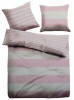 Tom Tailor Linon Wende Bettwäsche Set 2 teilig 155 x 220 cm weiß/rosa gestreift