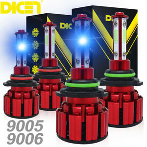 4SIDE 9005+9006 LED Combo Headlight Kit COB 220W Light Bulbs High Low Beam Lamp